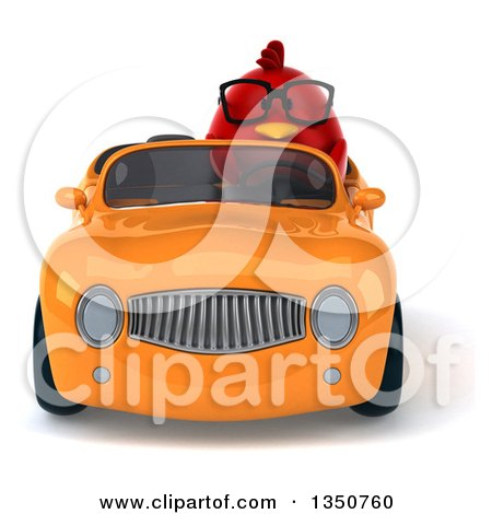 Clipart of a 3d Bespectacled Chubby Red Bird Driving an Orange Convertible Car - Royalty Free Illustration by Julos