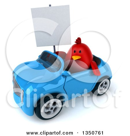 Clipart of a 3d Chubby Red Bird Holding a Blank Sign and Driving a Blue Convertible Car to the Left - Royalty Free Illustration by Julos