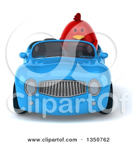 Clipart of a 3d Chubby Red Bird Driving a Blue Convertible Car - Royalty Free Illustration by Julos