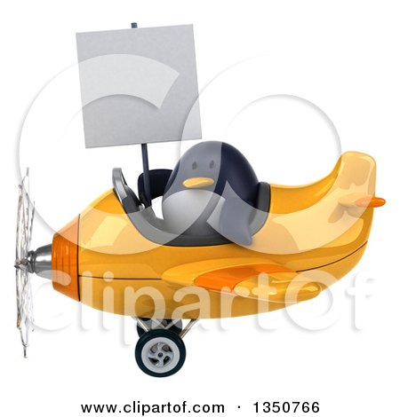 Clipart of a 3d Penguin Aviator Pilot Holding a Blank Sign and Flying a Yellow Airplane to the Left - Royalty Free Illustration by Julos