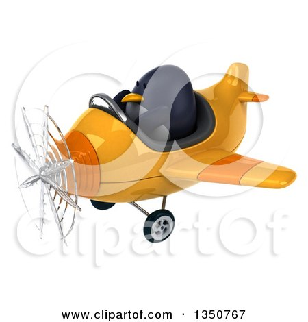 Clipart of a 3d Penguin Aviator Pilot Flying a Yellow Airplane to the Left - Royalty Free Illustration by Julos