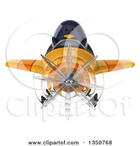 Clipart of a 3d Penguin Aviator Pilot Flying a Yellow Airplane - Royalty Free Illustration by Julos