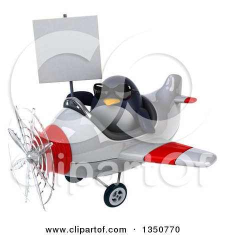 Clipart of a 3d Penguin Aviator Pilot Wearing Sunglasses, Holding a Blank Sign and Flying a White and Red Airplane to the Left - Royalty Free Illustration by Julos