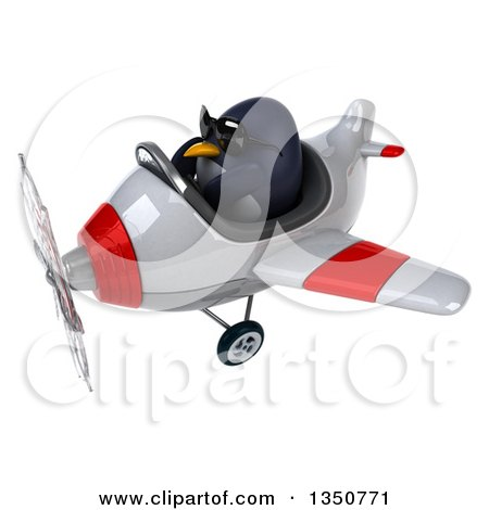 Clipart of a 3d Penguin Aviator Pilot Wearing Sunglasses and Flying a White and Red Airplane to the Left - Royalty Free Illustration by Julos