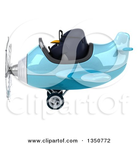 Clipart of a 3d Bespectacled Penguin Aviator Pilot Flying a Blue Airplane to the Left - Royalty Free Illustration by Julos
