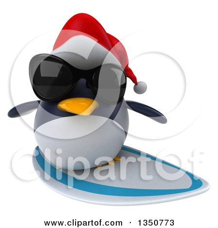 Clipart of a 3d Christmas Penguin Wearing a Santa Hat and Sunglasses and Surfing - Royalty Free Illustration by Julos