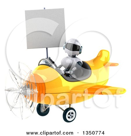 Clipart of a 3d White and Blue Aviator Pilot Holding a Blank Sign and Flying a Yellow Airplane to the Left - Royalty Free Illustration by Julos
