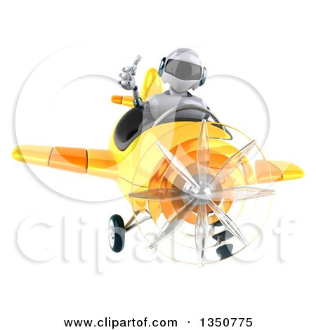 Clipart of a 3d White and Blue Aviator Pilot Giving a Thumb up and Flying a Yellow Airplane - Royalty Free Illustration by Julos