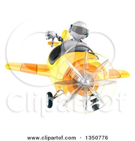 Clipart of a 3d White and Blue Aviator Pilot Giving a Thumb down and Flying a Yellow Airplane - Royalty Free Illustration by Julos