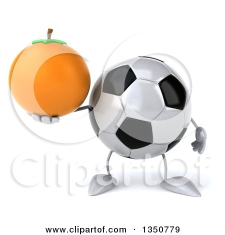 Clipart of a 3d Soccer Ball Character Holding a Navel Orange - Royalty Free Illustration by Julos
