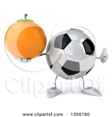 Clipart of a 3d Soccer Ball Character Holding a Navel Orange and Giving a Thumb up - Royalty Free Illustration by Julos