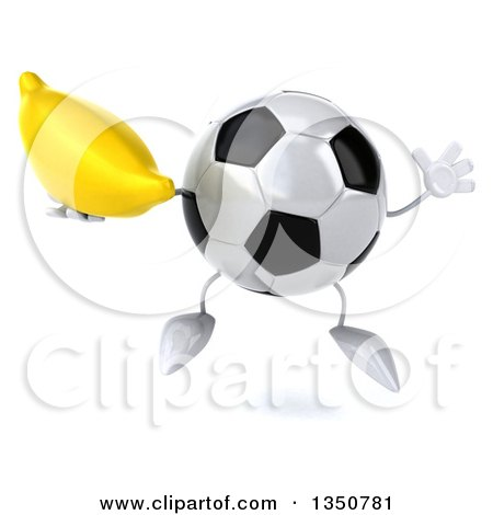 Clipart of a 3d Soccer Ball Character Holding a Banana and Jumping - Royalty Free Illustration by Julos