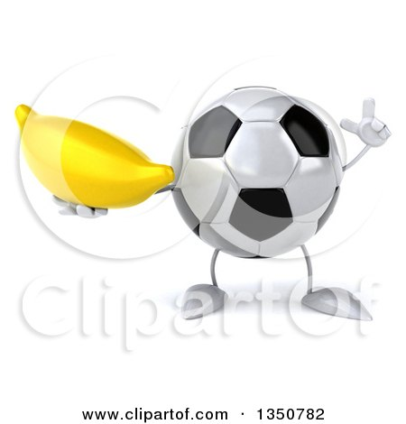 Clipart of a 3d Soccer Ball Character Holding up a Finger and a Banana - Royalty Free Illustration by Julos