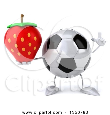 Clipart of a 3d Soccer Ball Character Holding up a Finger and a Strawberry - Royalty Free Illustration by Julos