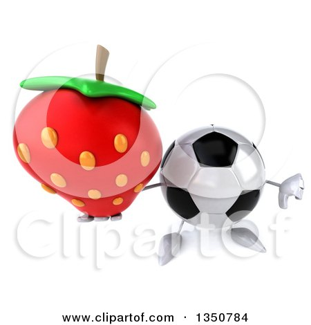 Clipart of a 3d Soccer Ball Character Holding up a Thumb down and a Strawberry - Royalty Free Illustration by Julos