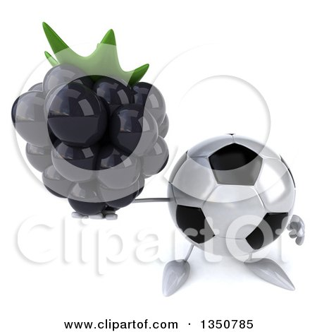 Clipart of a 3d Soccer Ball Character Holding up a Blackberry - Royalty Free Illustration by Julos