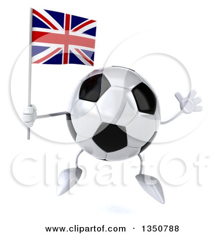 Clipart of a 3d Soccer Ball Character Holding a British Union Jack Flag and Jumping - Royalty Free Illustration by Julos