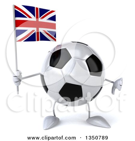 Clipart of a 3d Soccer Ball Character Holding a British Union Jack Flag and Giving a Thumb down - Royalty Free Illustration by Julos