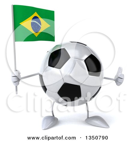 Clipart of a 3d Soccer Ball Character Holding a Brazilian Flag and Giving a Thumb up - Royalty Free Illustration by Julos
