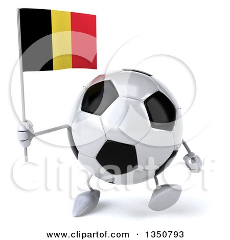 Clipart of a 3d Soccer Ball Character Holding a Belgian Flag and Walking - Royalty Free Illustration by Julos