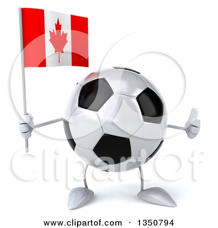 Clipart of a 3d Soccer Ball Character Holding a Canadian Flag and Giving a Thumb up - Royalty Free Illustration by Julos
