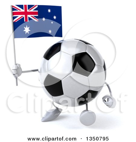 Clipart of a 3d Soccer Ball Character Holding an Australian Flag and Walking - Royalty Free Illustration by Julos