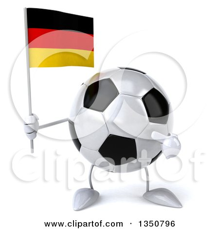 Clipart of a 3d Soccer Ball Character Holding and Pointing to a German Flag - Royalty Free Illustration by Julos