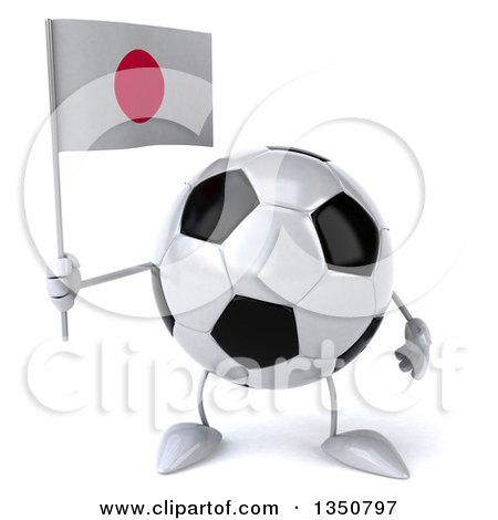 Clipart of a 3d Soccer Ball Character Holding a Japanese Flag - Royalty Free Illustration by Julos