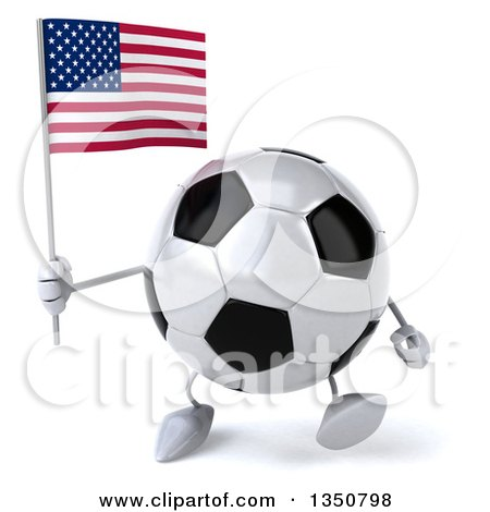 Clipart of a 3d Soccer Ball Character Holding an American Flag and Walking - Royalty Free Illustration by Julos