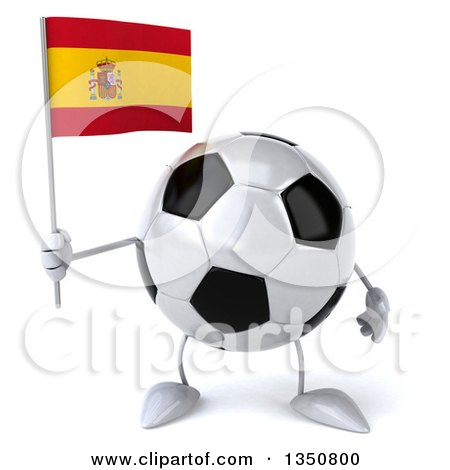 Clipart of a 3d Soccer Ball Character Holding a Spanish Flag - Royalty Free Illustration by Julos