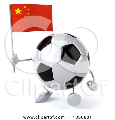Clipart of a 3d Soccer Ball Character Holding a Chinese Flag and Walking - Royalty Free Illustration by Julos