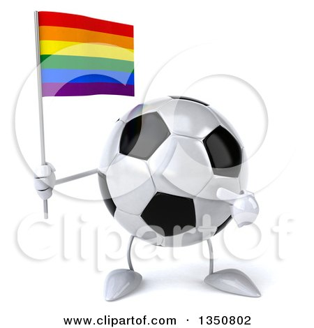 Clipart of a 3d Soccer Ball Character Holding and Pointing to a Rainbow Flag - Royalty Free Illustration by Julos