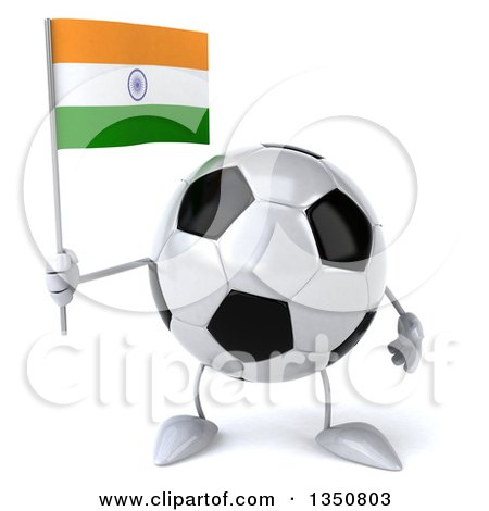 Clipart of a 3d Soccer Ball Character Holding an Indian Flag - Royalty Free Illustration by Julos