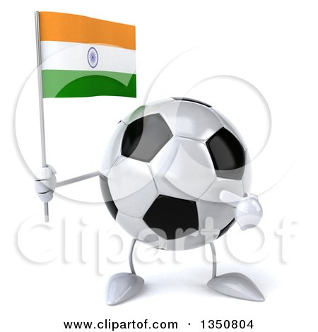 Clipart of a 3d Soccer Ball Character Holding and Pointing to an Indian Flag - Royalty Free Illustration by Julos