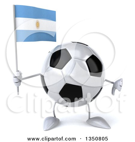 Clipart of a 3d Soccer Ball Character Holding an Argentine Flag and Giving a Thumb down - Royalty Free Illustration by Julos