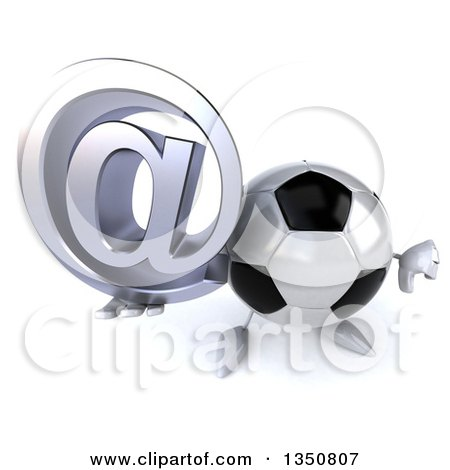 Clipart of a 3d Soccer Ball Character Holding up a Thumb down and Email Arobase at Symbol - Royalty Free Illustration by Julos