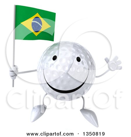 Clipart of a 3d Happy Golf Ball Character Holding a Brazilian Flag and Jumping - Royalty Free Illustration by Julos