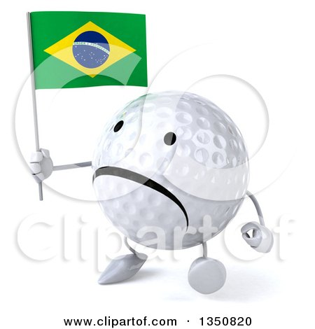 Clipart of a 3d Unhappy Golf Ball Character Holding a Brazilian Flag and Walking - Royalty Free Illustration by Julos