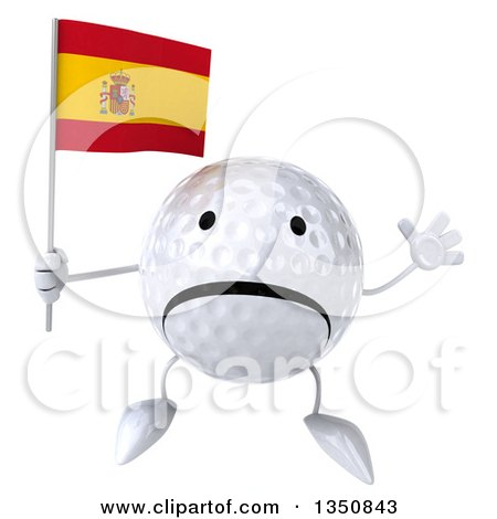 Clipart of a 3d Unhappy Golf Ball Character Holding a Spanish Flag and Jumping - Royalty Free Illustration by Julos