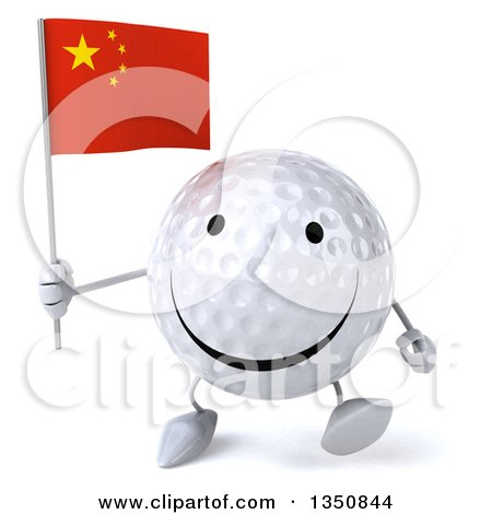 Clipart of a 3d Happy Golf Ball Character Holding a Chinese Flag and Walking - Royalty Free Illustration by Julos