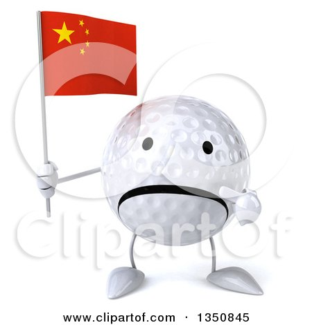 Clipart of a 3d Unhappy Golf Ball Character Holding and Pointing to a Chinese Flag - Royalty Free Illustration by Julos