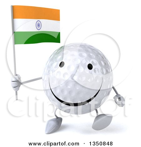 Clipart of a 3d Happy Golf Ball Character Holding an Indian Flag and Walking - Royalty Free Illustration by Julos