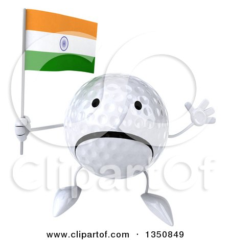 Clipart of a 3d Unhappy Golf Ball Character Holding an Indian Flag and Jumping - Royalty Free Illustration by Julos