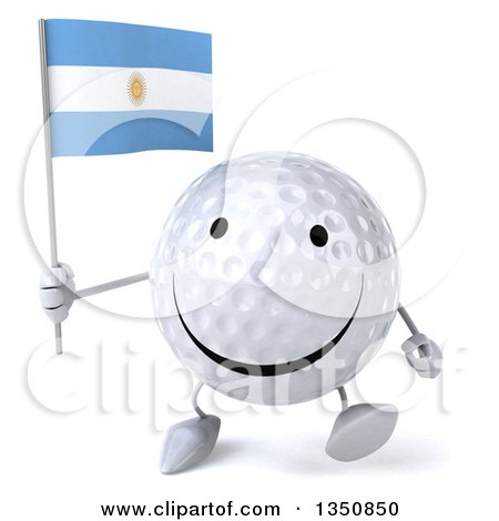 Clipart of a 3d Happy Golf Ball Character Holding an Argentine Flag and Walking - Royalty Free Illustration by Julos