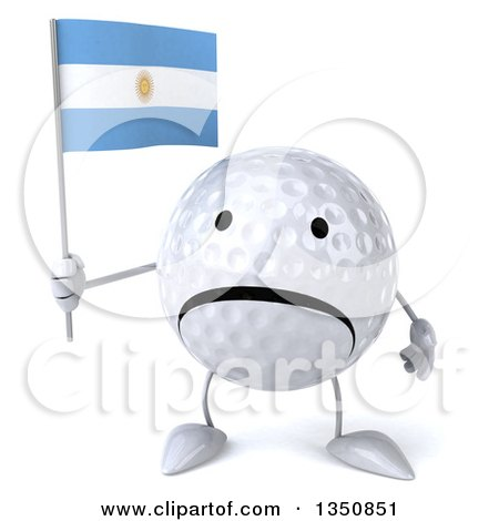 Clipart of a 3d Unhappy Golf Ball Character Holding an Argentine Flag - Royalty Free Illustration by Julos