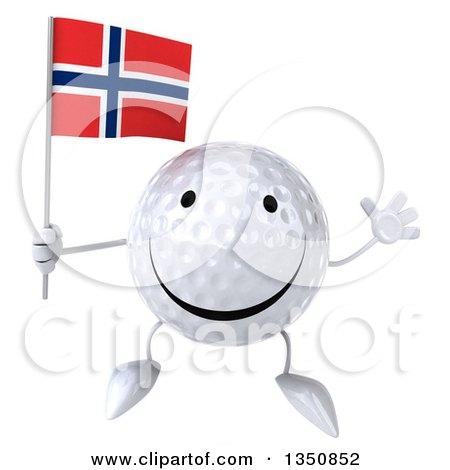 Clipart of a 3d Happy Golf Ball Character Holding a Norwegian Flag and Jumping - Royalty Free Illustration by Julos