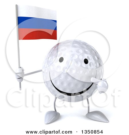 Clipart of a 3d Happy Golf Ball Character Holding and Pointing to a Russian Flag - Royalty Free Illustration by Julos