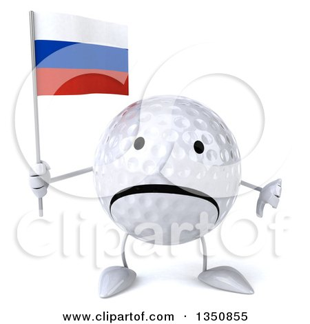 Clipart of a 3d Unhappy Golf Ball Character Holding a Russian Flag and Giving a Thumb down - Royalty Free Illustration by Julos