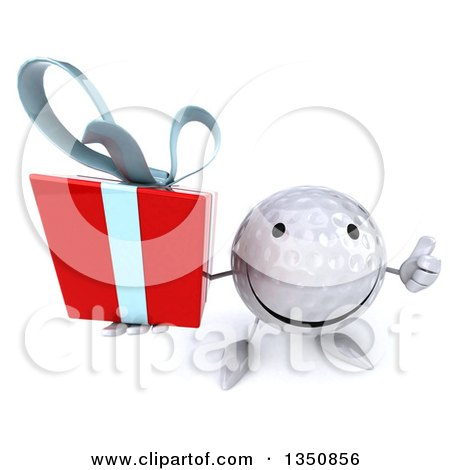 Clipart of a 3d Happy Golf Ball Character Holding up a Thumb and a Gift - Royalty Free Illustration by Julos