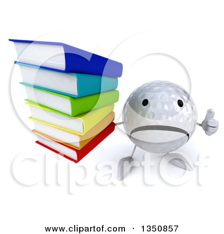 Clipart of a 3d Unhappy Golf Ball Character Holding up a Thumb down and a Stack of Books - Royalty Free Illustration by Julos